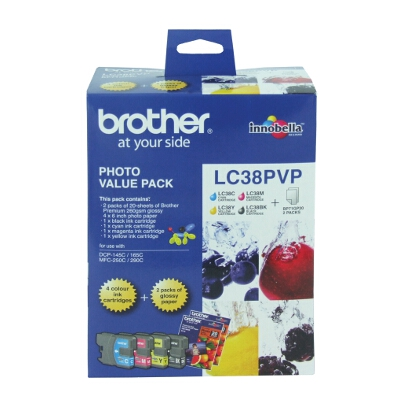 Brother LC-38PVP Photo Value Pack (includes LC-38BK, LC-38C, LC-38M, LC-38Y and 4x6 Photo Paper)
