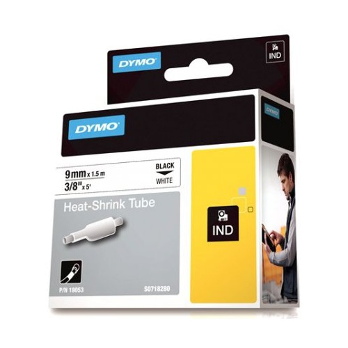 DYMO SD18053 Heat Shrink Tube 9mm Black on White