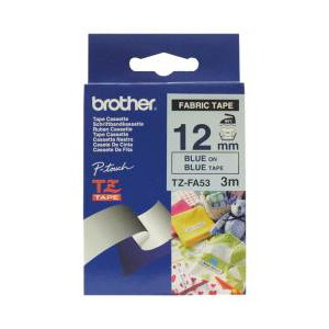 Brother TZ-FA53 Fabric Iron Tape, Blue Printing on Blue (12mm Width, 3 Metres in Length)