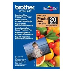 Brother BP71GP20 Premium Plus Glossy Photo Paper - 4x6 Inch, 20 Sheets per Pack
