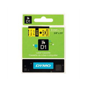 DYMO D1 LABEL CASSETTE 9mm x 7m - BLACK ON YELLOW