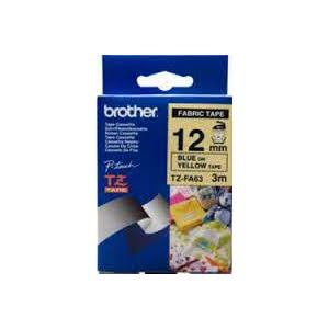 Brother TZ-FA63 Fabric Iron on Tape Blue Printing on Yellow Tape (12mm Width 3 Metres in Length)