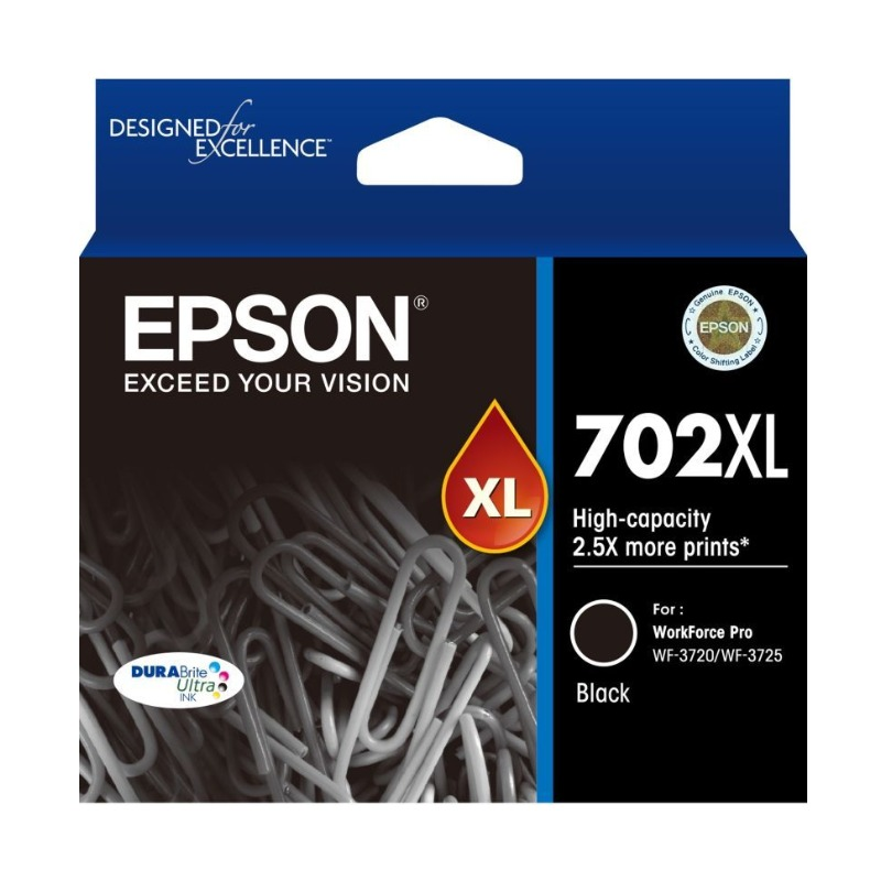 Epson C13T345192 High Yield 702XL Black Ink DURABrite