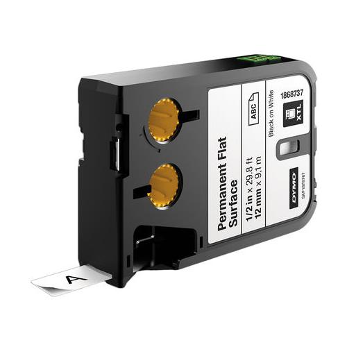 DYMO XTL 12mm Black/White Poly Cont Tape