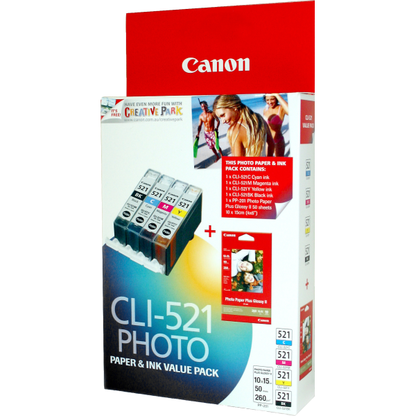 Canon CLI521 Bundle Pack including 1 x CLI521BK/C/M/Y + 1 x PGI520BK
