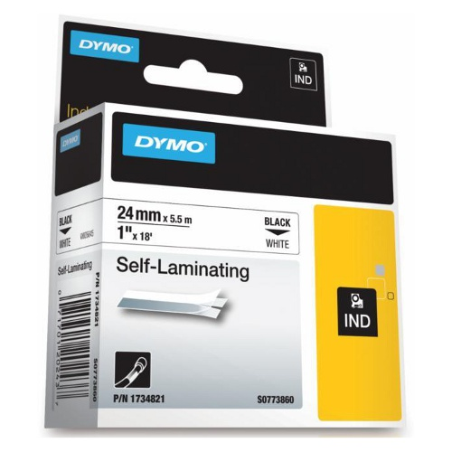 DYMO SD1734821 Self-Laminating Tape Black on White 24mm