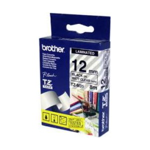 Brother TZ-M31 Laminated Black Printing on Clear (Mat) Tape (9mm Width 8 Metres in Length)