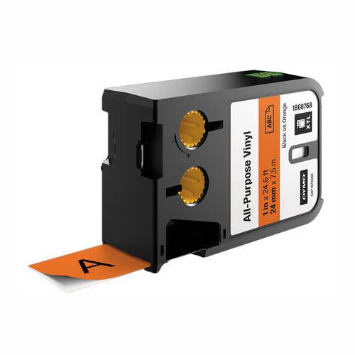 DYMO XTL 24mm Black/Orange Vinyl Cont Tape