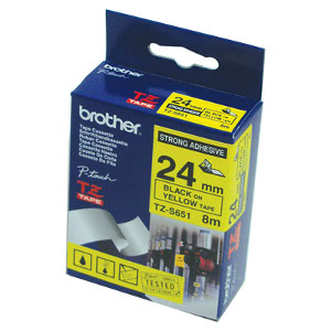 Brother TZ-S651 Strong Adhesive Laminated Tape, Black Printing on Yellow (24mm Width, 8m in Length)