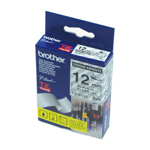 Brother TZ-S131 Strong Adhesive Laminated Tape, Black Printing on Clear (12mm Width, 8m in Length)