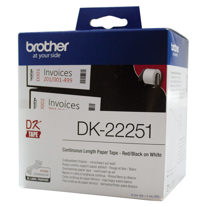 Brother DK-22251 White Continuous Paper Roll, 62mm x 15.24m (with Black/Red Print)