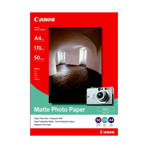 Canon MP-101 Medium Weight (170gsm) Bright premium matte finish paper for photos or charts A4