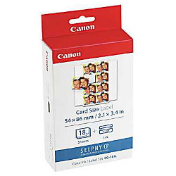 Canon KC18IL Ink/Paper Pack 18 Sheets (8-Label Card Size Sticker) to suit CP100/200/300