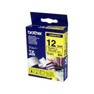 Brother TZ-631 Laminated Black Printing on Yellow Tape (12mm Width 8 Metres in Length)