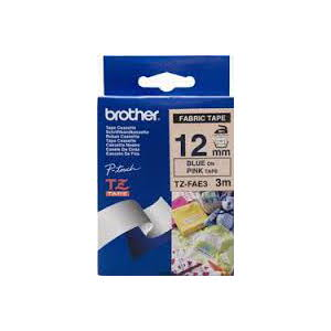 Brother TZ-FAE3 Fabric Iron on Tape Blue Printing on Pink Tape (12mm Width 3 Metres in Length)