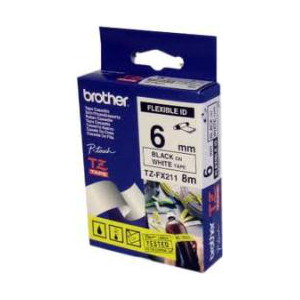 Brother TZ-FX211 Flexible Laminated Black Printing on White Tape (6mm Width 8 Metres in Length)