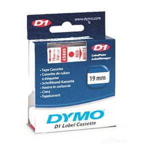 DYMO D1 LABEL CASSETTE 19mm x 7m - RED ON WHITE