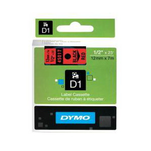 DYMO D1 LABEL CASSETTE 12mm x 7m - BLACK ON RED