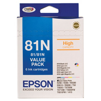 Epson C13T111792 81N HY Value Pack (Black,Cyan,Magenta,Yellow,Light Cyan,Light Magenta)