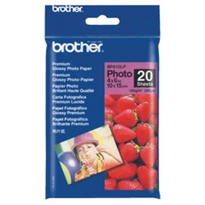 Brother BP-61GLP Glossy Photo Paper, 4x6 Inch (20 sheets)