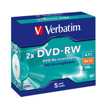 Verbatim 95044 DataLifePlus DVD-RW, 4.7GB Disc, Jewel Case, 5 Pack, 2x Max.
