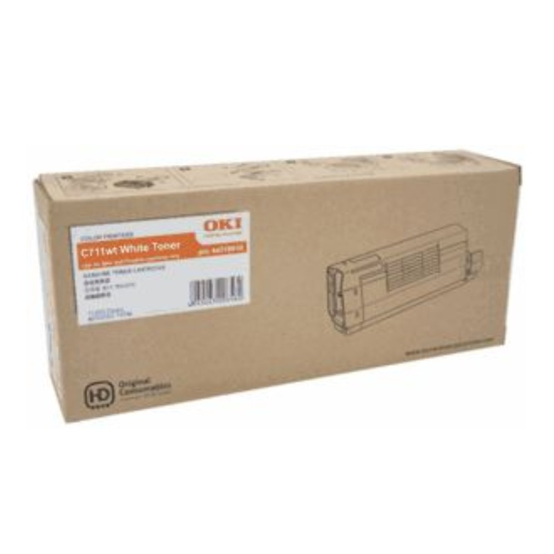 OKI 44318666 Toner Cartridge White For C711WT, 6,000 Pages (ISO)