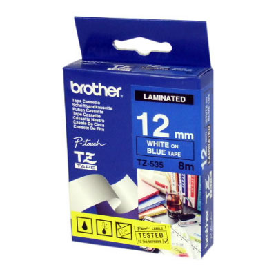 Brother TZ-535 Laminated White Printing on Blue Tape (12mm Width 8 Metres in Length)