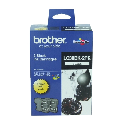 Brother LC-38BK Twin Pack Black Ink Cartridge for DCP-145C/165C