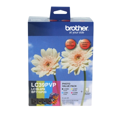 Brother LC-39PVP Photo Value Pack including  LC-39BK/C/M/Y and 40 Sheets of 4x6 Photo Paper