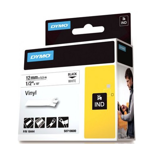 DYMO SD18444 Vinyl 12mm Black on White