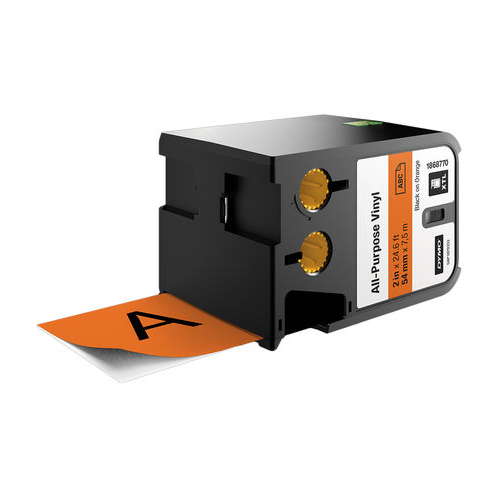 DYMO XTL 54mm Black/Orange Vinyl Cont Tape