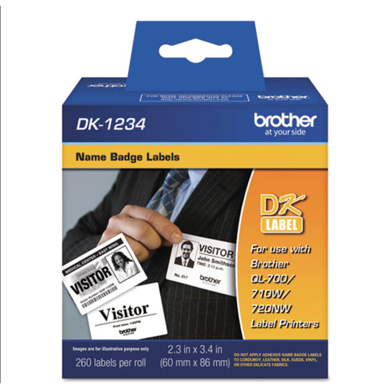 Brother DK-1234 White 260 x Name Badge Labels (60mm x 86.10mm)