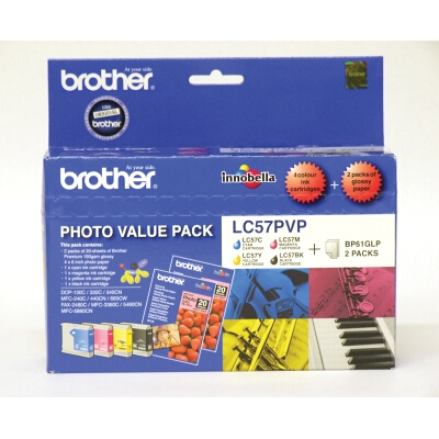 Brother LC-57 Photo Value Pack including LC-57BK/C/M/Y and 40 Sheets of 4x6 Photo Paper