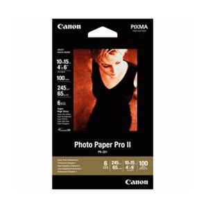 Canon PR2014x6-100 Photo Paper Professional II High Gloss 6x4 Photo Cards, 245gsm, 100 Sheets