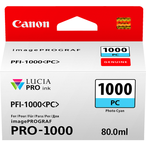 Canon PFI1000PC Photo Cyan Ink Tank (Yield, up to 600 pages)