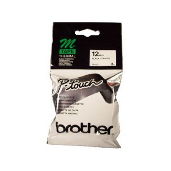 Brother M-K231 Non Laminated Black Printing on White Tape (12mm Width 8 Metres in Length)