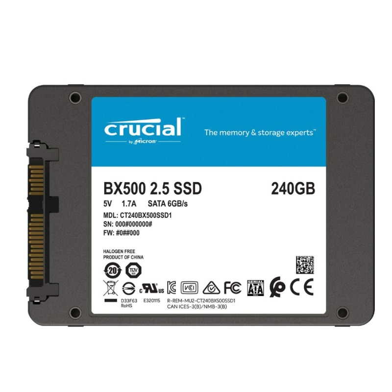 Crucial CT240BX500SSD1 240GB 2.5 Inch SATA SSD, NAND