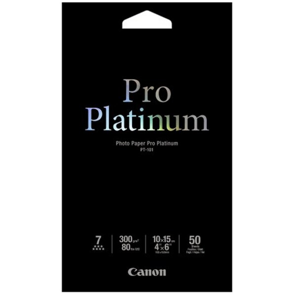 Canon PT1014X6-50 Photo Paper Pro Platinum, 6x4, 300gsm - 50 Pack