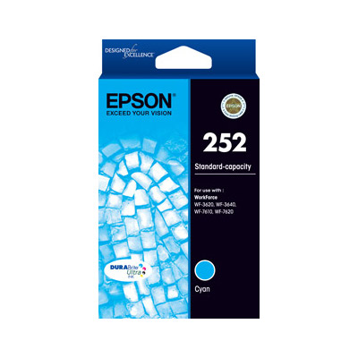 Epson C13T252292 252 Standard Capacity Cyan Ink Cartridge for WF3620, WF7620 (Yields up to 300pages)