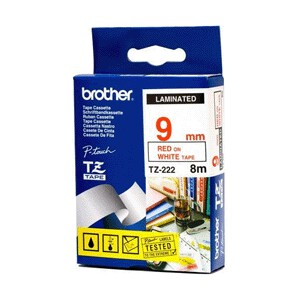 Brother TZ-222 Laminated Red Printing on White Tape (9mm Width 8 Metres in Length)