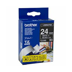 Brother TZ-355 Laminated White Printing on Black Tape (24mm Width 8 Metres in Length)