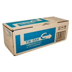 Kyocera TK-554C Cyan Toner Cartridge for FS-C5200DN (6,000 Yield)