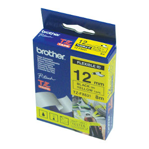 Brother TZ-FX631 Flexible Laminated Black Printing on Yellow Tape (12mm Width 8 Metres in Length)