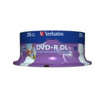 Verbatim 43667 DVD+R DL 8.5GB 25 Pack White Wide Injet Printable, 8x