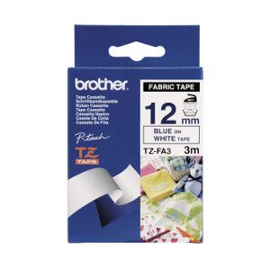 Brother TZ-FA3 Fabric Iron on Tape Blue Printing on White Tape (12mm Width 3 Metres in Length)