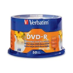 Verbatim DVD-R 4.7GB White Inkjet Printable 50 Pack Spindle