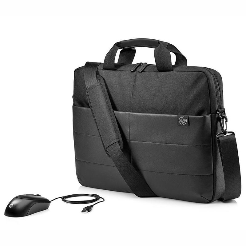HP 1FK06AA 15.6 Inch Classic Briefcase and USB Mouse