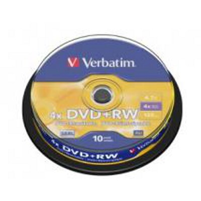 Verbatim 43488 DVD+RW 4.7GB 10Pk Spindle 4x