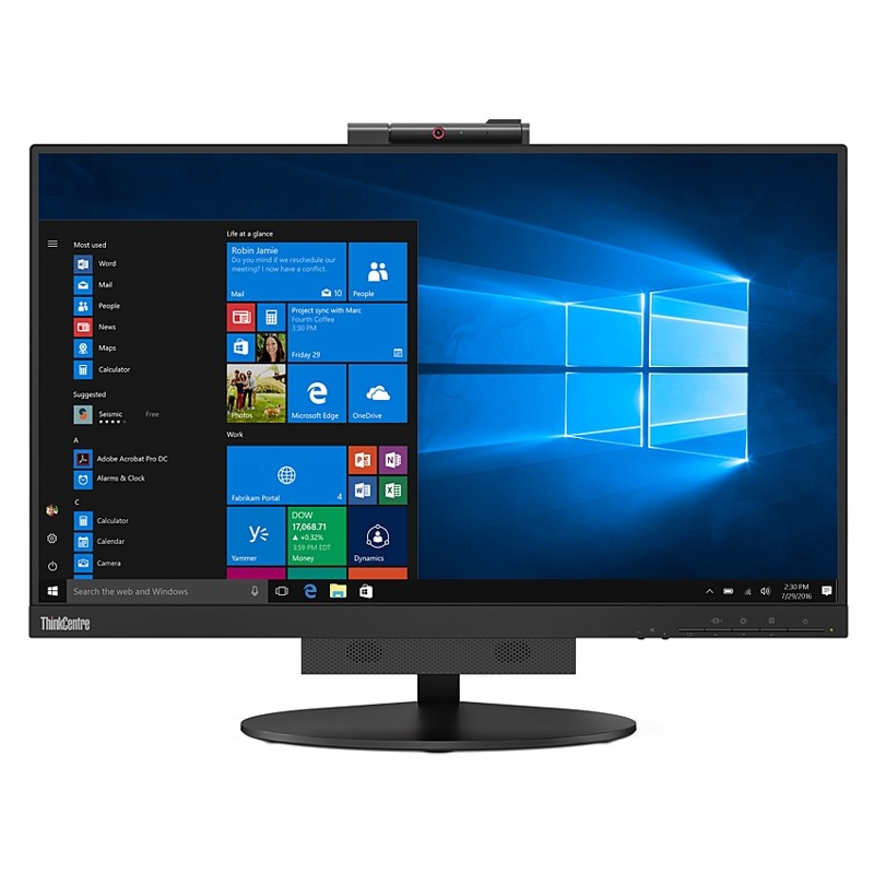 Lenovo Tiny-in-One 27 Inch QHD LED, DP, USB, HDMI, Speakers, Webcam, H/Adjust, Tilt Swivel, Microphone