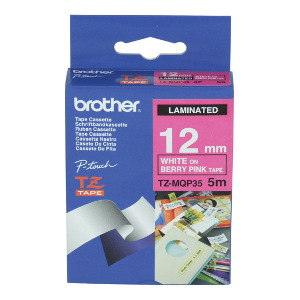 Brother TZ-MQP35 White on Berry Pink, (Matte Laminated) 12mm Width, 5 Metres in Length